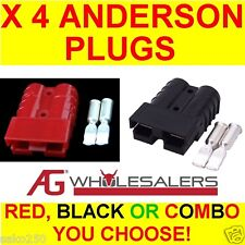 RED & BLACK ANDERSON STYLE PLUG CONNECTOR AUTO 50 AMP 50a