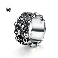 Silver bikies ring solid stainless steel skull grave yard band