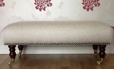 A Quality Long Footstool In Laura Ashley Edwin Natural Fabric