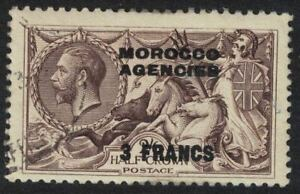 morocco agencies - sea horse 1924 - 3 francs on 2s 6d fine used sg200