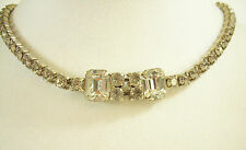 Vintage SPARKLING Clear Rhinestone Choker Necklace Emerald Round Cut PROM PARTY