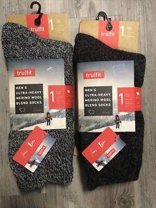 Tru Fit Men Merino Blend Wool Crew Sock Size 10-15 shoe 7-12 BLACK GRAY pair NEW