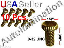 "8-32 x 3/8"" Brass Plated Knurled Thumb Head Screw Glass Lamp Shade Holder (10)"