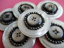 LARGE EXQUISITE ANTIQUE VINTAGE MOTHER of PEARL & CUT STEEL BUTTONS X 6