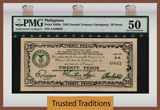 "TT PK S499a 1943 PHILIPPINES 20 PESOS ""EMERGENCY NOTE"" PMG 50 POPULATION ONE!!"