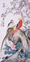 Golden Birds lover-ORIENTAL ASIAN FINE ART CHINESE FAMOUS WATERCOLOR PAINTING