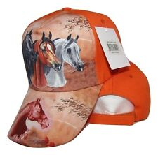 Three Horse Head Neon Orange Printed Baseball Cap Hat