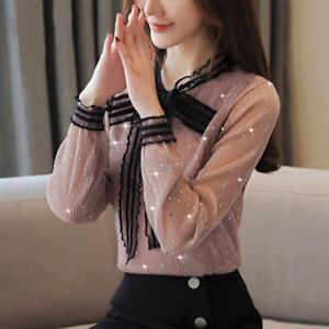 Women's Chiffon Shiny Bows Fairy Blouse Casual Party Top Pullover Clubwear Shirt