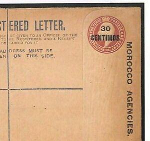 GB MOROCCO AGENCIES Overprint Registered Postal Stationery E Unused 1907 GY238