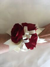 Artificial Silk Red Rose & Ivory Wedding/ Graduation Bridal Flower Wrist Corsage
