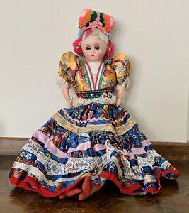 "Vintage HUNGARIAN FOLK DOLL 16"" Ethnic Magyar Bright Colors Matyo Cloth EUC"