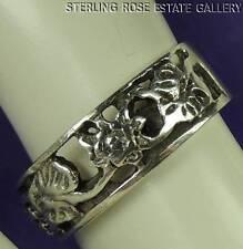 Flower Floral Gardener Sterling Silver 0.925 Estate BAND RING size 5