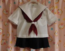 ^_^ Japanese SchoolGirl Uniform Summer! Perfect Cond. 160cm ! White lines E03