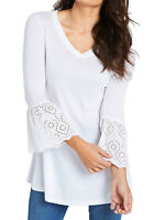 Capsule ladies top tunic plus size 16 18 22 24 28 white lace cuff long sleeve
