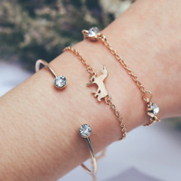3Pcs/Set Gold Plated Crystal Horse Rhinestone Cuff Hand Chain Bracelet Bangle