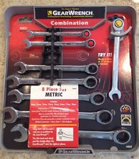 GearWrench 8 Piece Professional Ratcheting Combination Wrench Set  NEW Metric