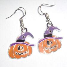 Kitsch Kawaii Halloween Pumpkin Enamel Charm Earrings Fancy Dress Purple Hat