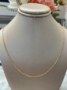 """14k Yellow Gold 20"""" Beaded Chain Lobster Clasp EUC!"""