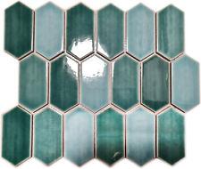 Keramikmosaik Mosaikfliese Hexagonal Grün Glänzend Fliesenspiegel | 10 Matten