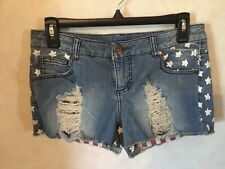 Size 9 Xhilaration Women's Denim Shorts White Stars Patriotic Pockets Zipper