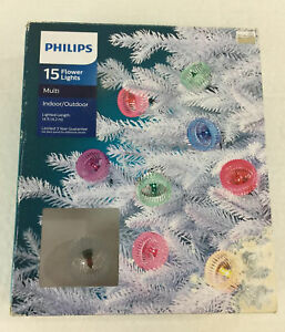 Philips 15 Flower Lights Multi-Color String NWT Indoor/Outdoor 14 ft Green Wire