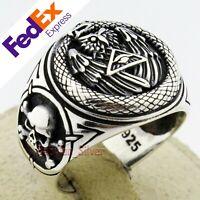 Masonic 925 Sterling Silver Eye Pyramid Biker Skull Turkish Men's Ring All Sizes