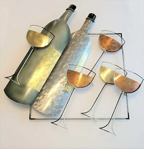 Fabulous Curtis Jere Wine Bottles & Glasses 3-D Mixed Metal Wall Sculpture 1999