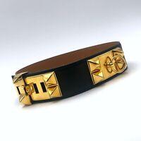 Iconic HERMES Collier de Chien CDC Medor Black Leather Gold Stud Belt Size 60 XS