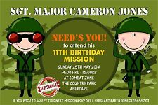 Personalised Birthday Invitations Army Combat x 5