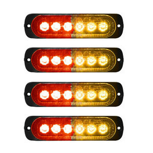 4x 6-LED Red Amber Car Recovery Flashing Grille Beacon Warning Strobe Lights 12V