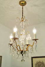 DELICIOUS VINTAGE CHANDELIER LIGHT LAMP LUSTRE ANCIEN CRYSTAL & GLASS DROPLETS