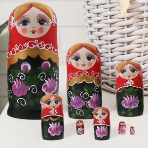 8Pcs Handmade Russian Nesting Wooden Dolls Matryoshka Birthday Toys Gifts