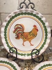 """Set of 4 Williams Sonoma Tuscan Rooster pasta bowl/plate 9"""".Mint Condition!"""