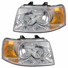 2003-06 FORD EXPEDITION W/CHROME HOUSING HEADLIGHTS HEADLAMPS LIGHTS LAMPS PAIR