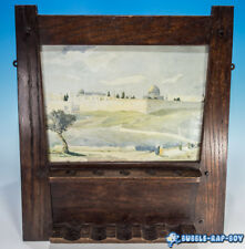 More details for wall hanging art deco pipe rack with print of jerusalem by f.n.barclay
