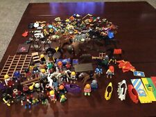 Playmobil large lot 34 people, 10 Horses,Bison, Animals + Many Access And pieces