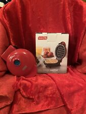 "Dash Mini 4"" Waffle Maker Non Stick  350 Watts Red Brand New!"