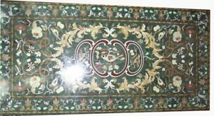 "60"" x 36"" green Marble dining center Table Top Inlay semi precious stones decor"