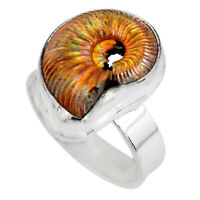 925 Silver Natural Russian Jurassic Opal Ammonite Solitaire Ring Size 6.5 P90339