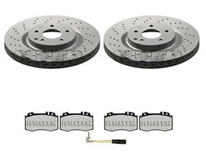 MERCEDES CLK C209 A209 FRONT BRAKE DISCS AND PADS DRILLED WEAR LEAD (330MM)