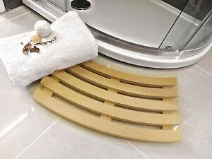 Handmade Curved Shaped Solid Beech Wooden Slatted Duck Board Bathroom Shower Mat