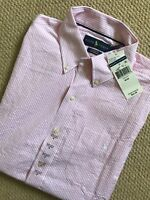 RALPH LAUREN PINK WHITE STRIPED CLASSIC S/S SHIRT TOP USA MODEL S M XL NEW TAGS