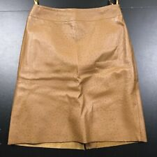 Express Women'S Classic Solid Brown Ostrich Textured Leather Skirt Size: 1/2