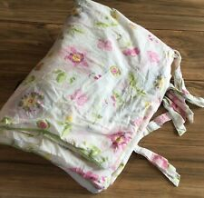 Pottery Barn Kids Twin Duvet Springtime Floral Butterflies Piped Edge ~Tie Close