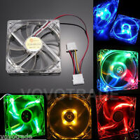 Quad LED Light Neon Clear Case Cooling Fan For Computer PC Mod 40/80/120/140mm