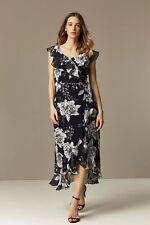 Wallis Womens Multi Coloured Floral Print Ruffle Sleeveless V-Neck Midi Dress