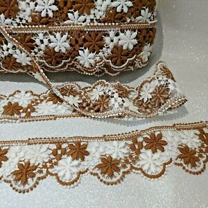 3 mtrs Guipure/marcame vintage 3 inches /75mm snowflake pattern cotton lace trim