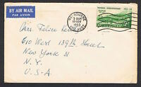 1953 2/- Tasmania on commercial airmail cover to the USA NS635