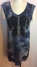 NWOT 3.1 PHILLIP LIM Embroidered Tie Dye Navy Dress Size Medium
