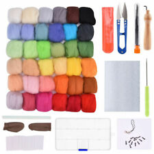50/36 Colors Wool Fibre Roving Felting Starter Needle Tool Kit Spinning Weaving